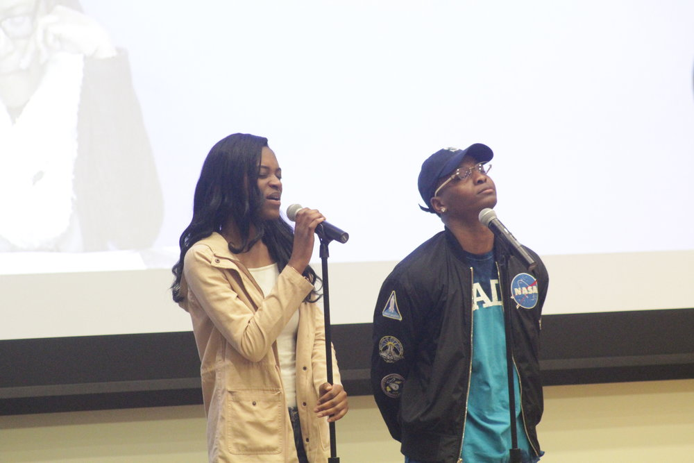 Contestants compete in the AACC pageant to be named AACC Prom King and Queen Friday evening as a part of the ent of Black History Month. (Jordan Richardson/The Daily Campus)