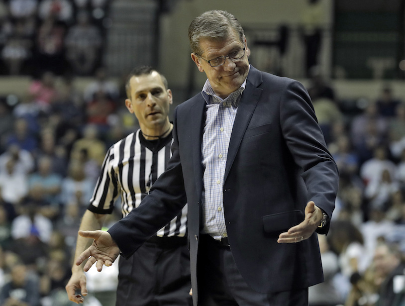 Connecticut head coach Geno Auriemma gestures as he talks to an official during the second half of an NCAA women's college basketball game against South Florida, Monday, Feb. 27, 2017, in Tampa, Fla. UConn won the game 96-68. (AP Photo/Chris O'Meara)