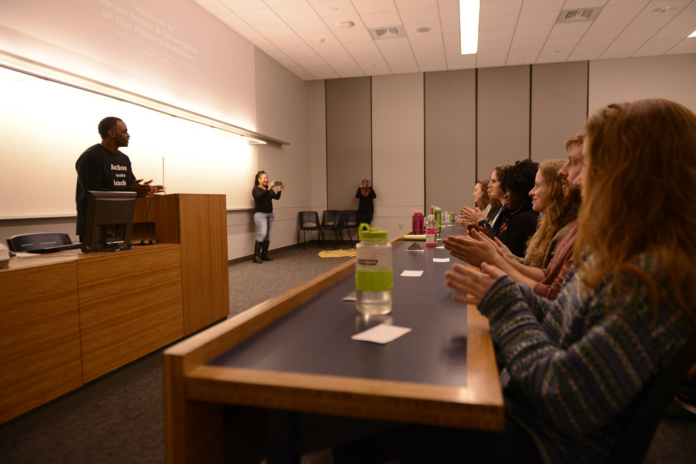 Warren Hardy, a former Hartford gang member, speak to UConn students about the importance to take action against gun violence. The event is an sophomore honors event presented by UCAGV. (Jason Jiang/The Daily Campus)