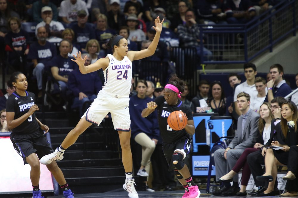 UConn's Napheesa Collier leaps on defense during Saturday's game against Memphis at Gampel Pavilion. (Jackson Haigis/The Daily Campus)