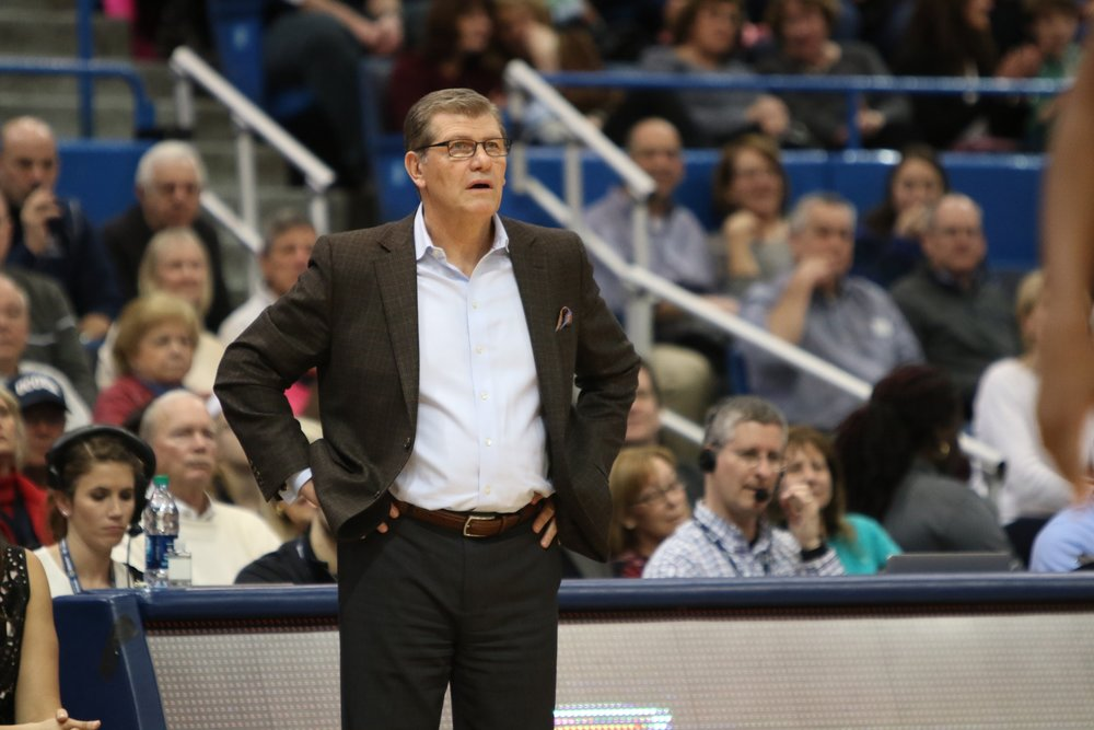 UConn head coach Geno Auriemma reacts to an official's call in a game against Temple on February 22, 2017 at the XL Center in Hartford. (Jackson Haigis/The Daily Campus)
