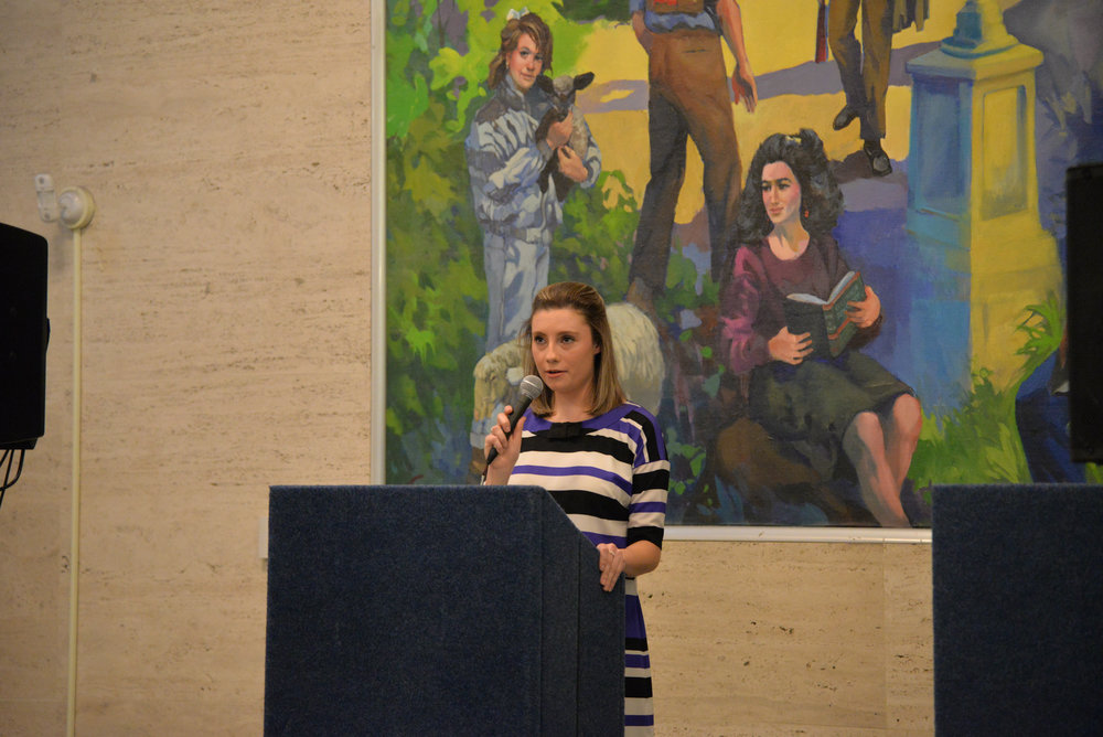 Lysette Johnson speaks at the USG debate on Feb. 23, 2017 in the Student Union. She is Valverde's pick for vice president. (Amar Batra/The Daily Campus)