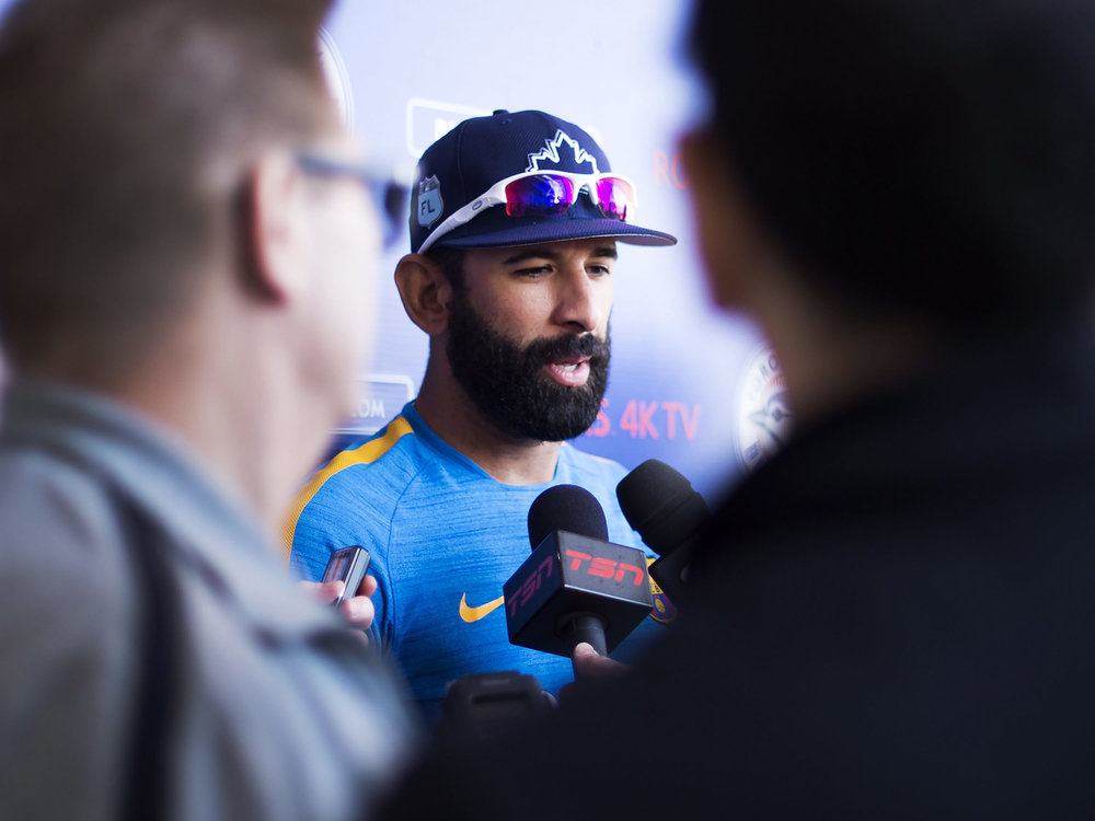 Toronto Blue Jays right fielder Jose Bautista speaks with reporters during baseball spring training in Dunedin, Fla., on Friday, Feb. 17, 2017.  Our writer believes post-game statements and game recaps have become cliche. (Nathan Denette/ AP)