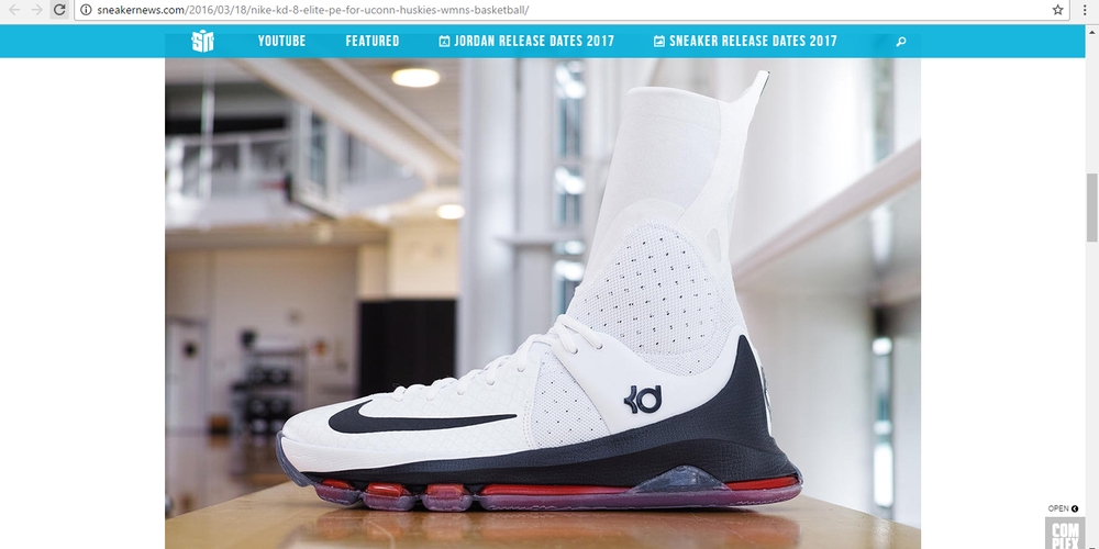 "These special edition KD 8 ""Elite"" were given to the UConn women's basketball team for tournament season. (sneakernews.com)"