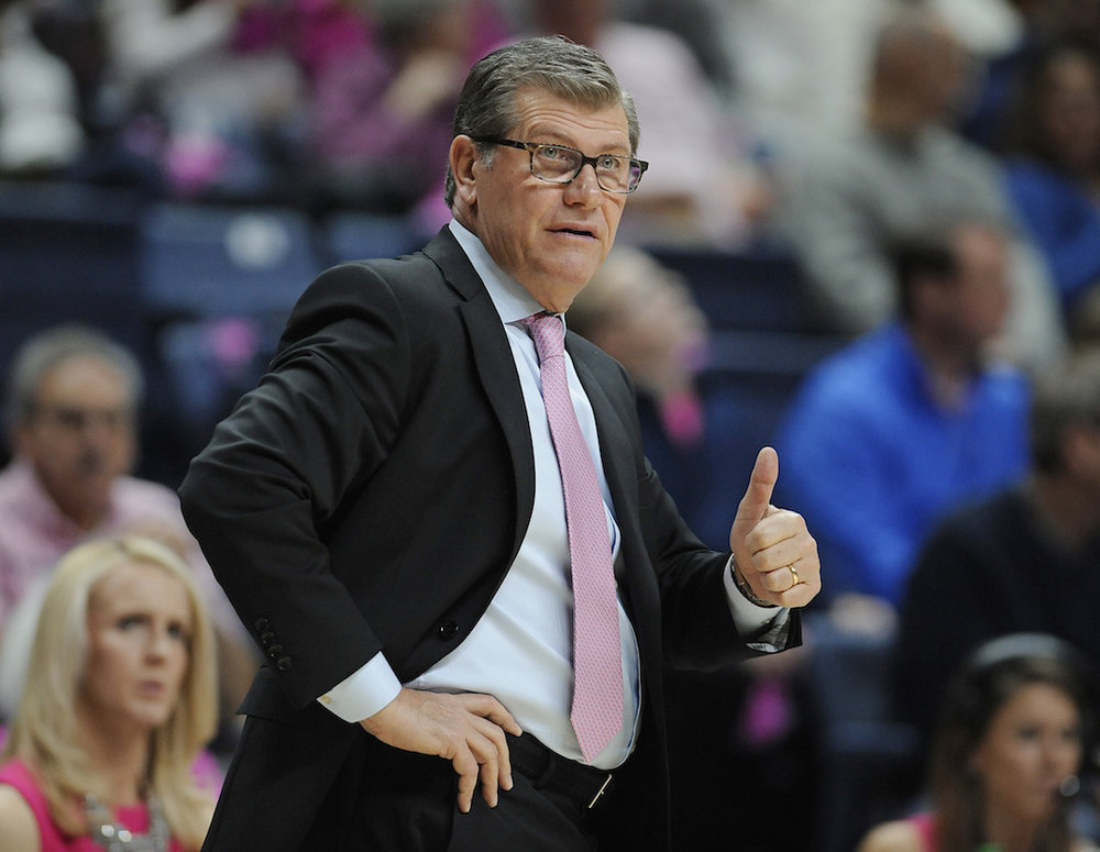 UConn women's basketball head coach Geno Auriemma gives a a thumbs up to his team in the first half of an NCAA college basketball game against SMU, Saturday, Feb. 11, 2017, in Storrs, Conn. (AP Photo/Jessica Hill)