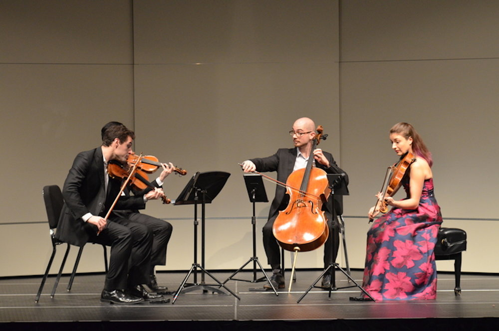 The Dover Quartets stuns the audience at Jorgensen on Thursday, March 2, with the final piece of the Beethoven  string quartet. The Dover Quartet is a highly acclaimed string quartet group, having won numerous international awards. (Akshara Thejaswi/The Daily Campus)