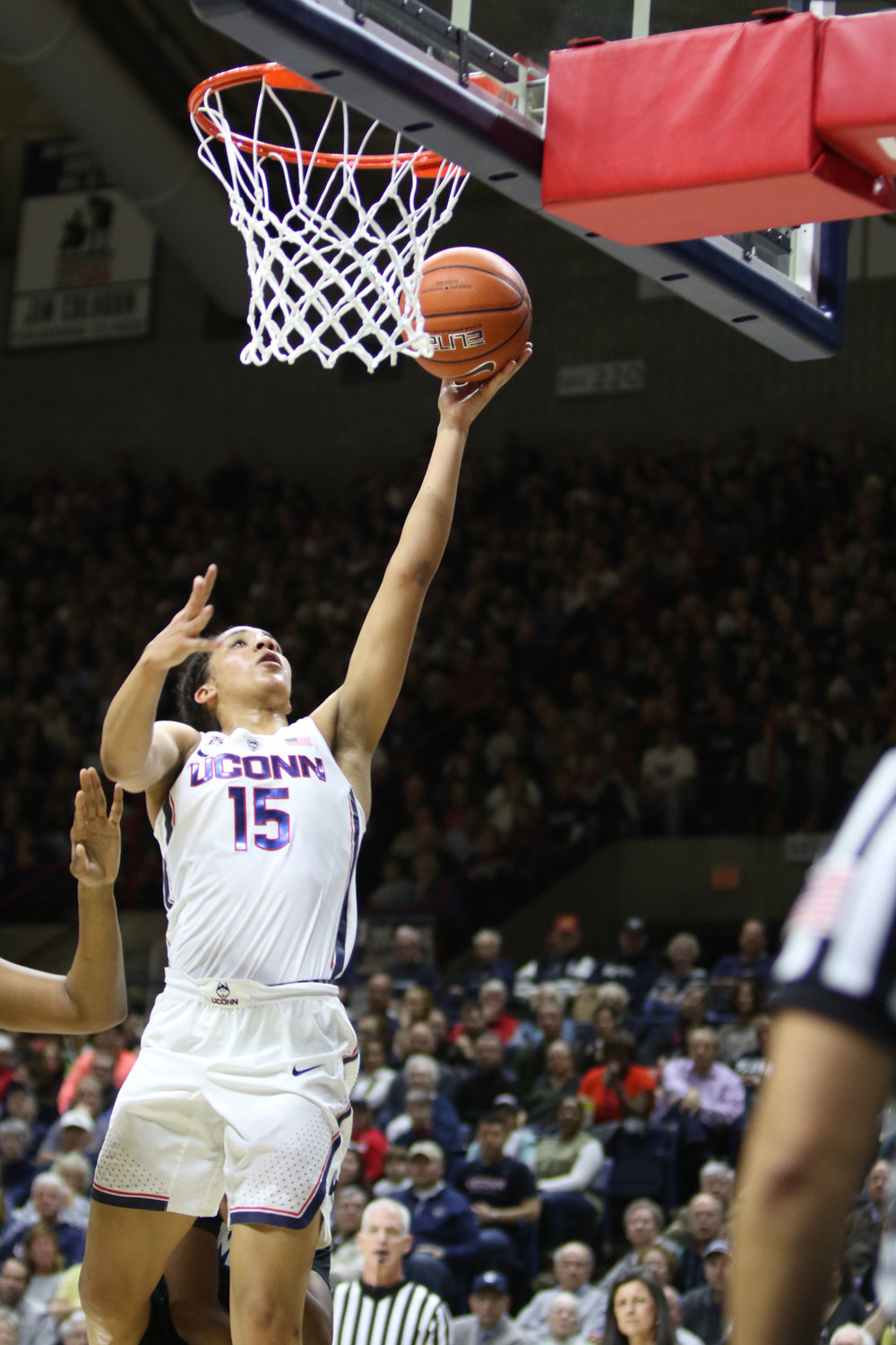 Gabby Williams completes a layup during the Huskies 91-48 victory over Memphis on Feb. 27, 2017 on Senior Day. (Jackson Haigis/The Daily Campus)