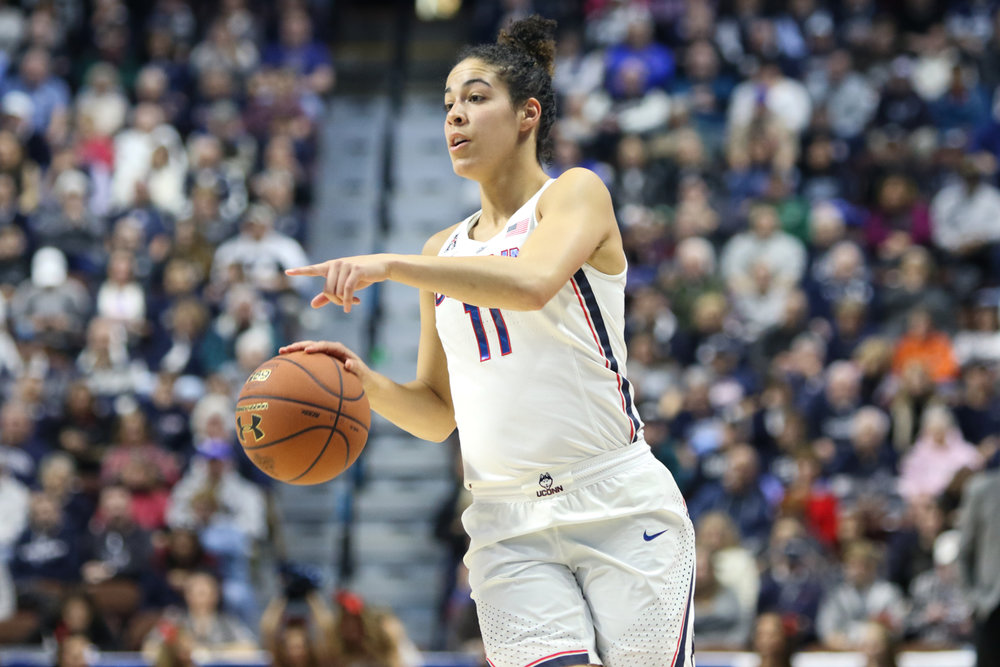 UConn junior guard Kia Nurse calls out a play during the Huskies' 105-57 win over Tulsa in the American Athletic Conference tournament at Mohegan Sun Arena in Uncasville on Saturday afternoon. Nurse played 15 minutes in her first game back after missing the last four games of the regular season with an ankle injury. (Jackson Haigis/The Daily Campus)