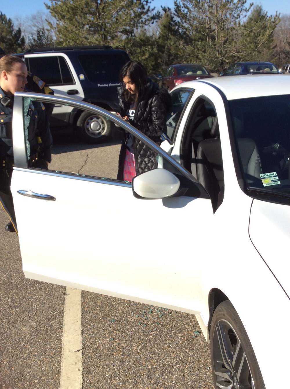 The tires and rims from five other cars parked at Hilltop and Celeron Apartments were stolen Thursday night. (Elizabeth Charash/The Daily Campus)
