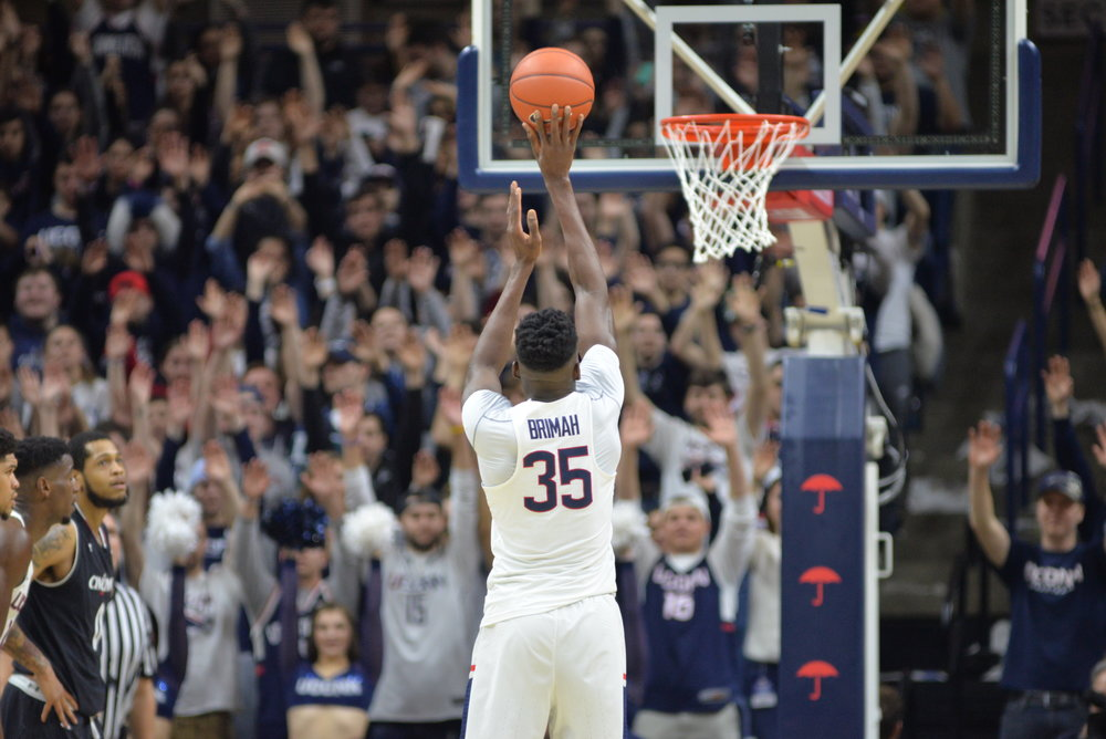 Amid Brimah takes a free throw during UConn's game. The UConn men's basketball team fell 67-47 to the Cincinnati Bearcats on Senior Night in Gampel Pavilion on Sunday, March 5, 2017. Rodney Purvis led the team in scoring with 15 points. (Amar Batra/The Daily Campus)