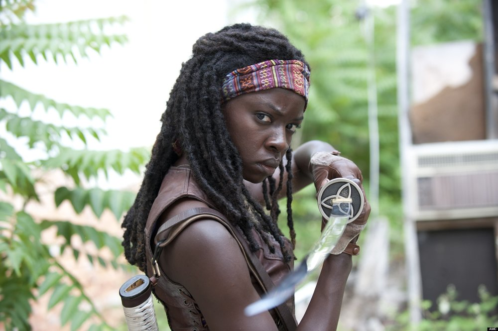 Michonne, a character from the Walking Dead, fascinates fans by how well she uses her katana to survive. (Photo courtesy of The Huffington Post)
