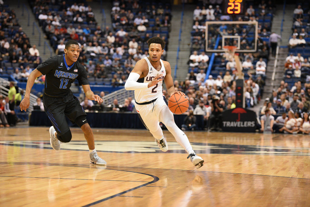 Sophomore Jalen Adams was named to the All-Conference First Team for the first time in his career after being projected to finish on the All-Conference Second Team in the preseason. (Zhelun Lang/The Daily Campus)