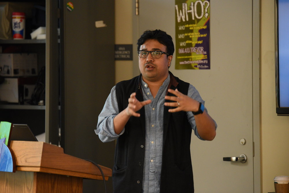 Arnab Dutta Roy gave a lecture about his PhD project at the Rainbow Center on Wed., March 8th. He explored the question of sexuality and tradition through a reading of androgyny in certain under-explored Hindu scriptural and folk traditions. (Zhelun Lang/The Daily Campus)