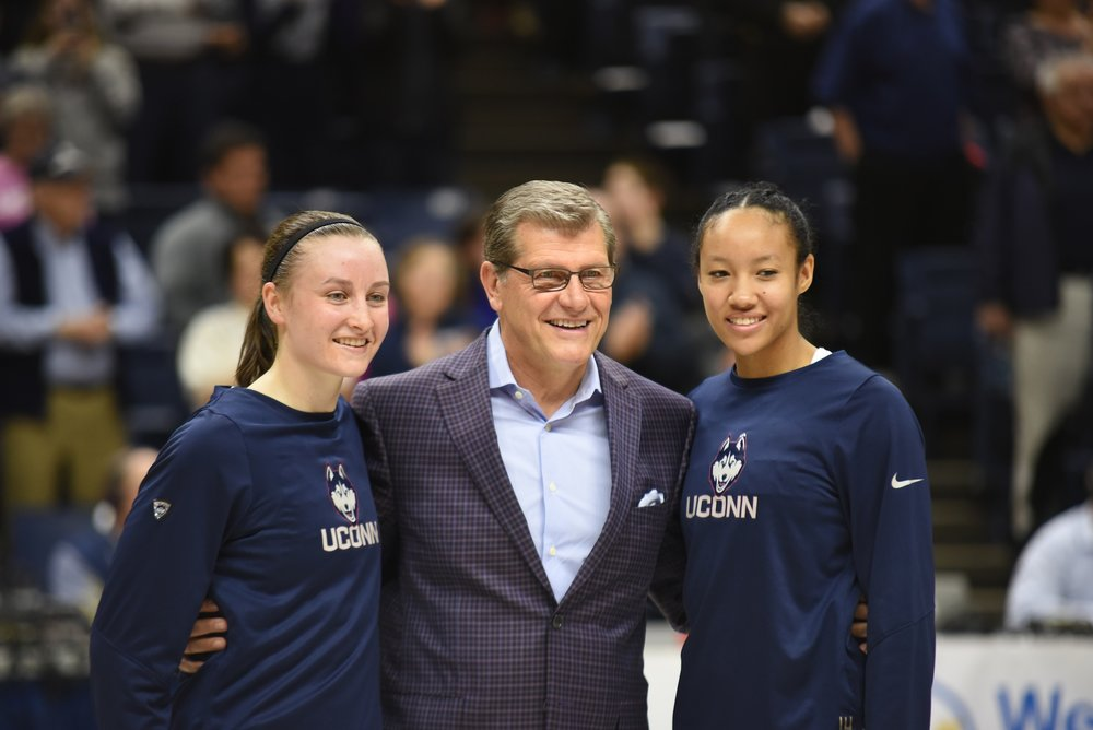 Saniya Chong and Tierney Lawlor celebrated their last game at Gamble against Memphis. Katie Lou Samuelson had 29 points as they defeated Memphis 91-48. (Charlotte Lao/The Daily Campus)