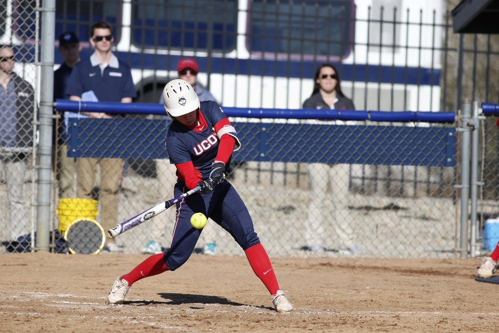 The Huskies started off the game against CCSU strong with a run in the first inning.  The Huskies continued dominating when #4, Ally Hernandez, hit a Grand Slam, driving UConn to win 6-0 over CCSU. (Tyler Benton/The Daily Campus)
