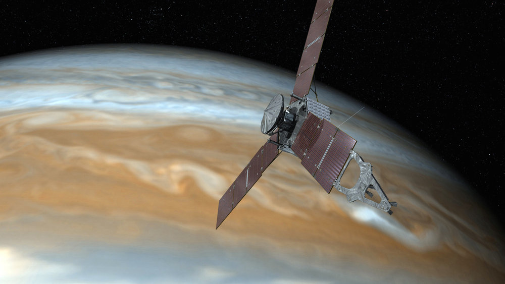 This undated image shows shows an artist's rendering of NASA's Juno spacecraft making a close pass over Jupiter. On Thursday, Feb. 23, 2017, NASA said its the spacecraft is stuck making long laps around the gas giant because of sticky valves. (NASA/AP Exchange)