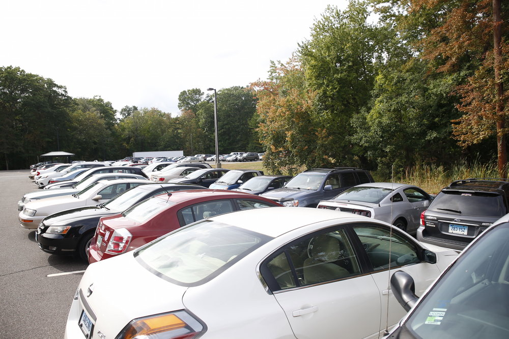 Pictures of I Lot show the commuter parking spots full during the day.  Rumor has it UConn might have oversold the parking passes. (Tyler Benton/The Daily Campus)