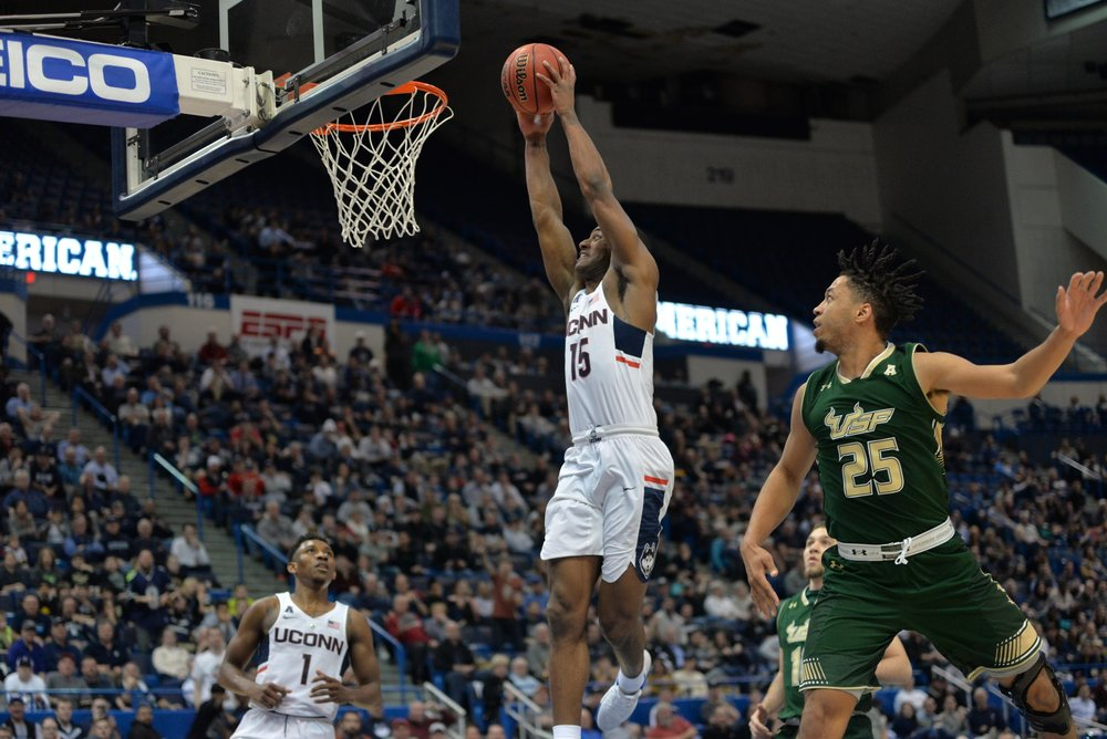 Rodney Purvis goes up for a dunk in UConn's 77-66 win over USF. Purvis scored a career-high 30 points with no turnovers in Thursday night's game. (Amar Batra/The Daily Campus)