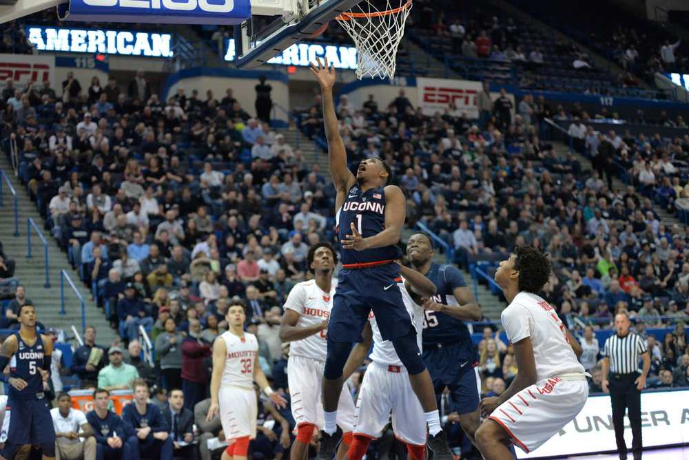 Christian Vital goes up for a layup in UConn's 74-65 win over Houston on Friday, March 10 at the XL Center in Hartford in the second round of the AAC tournament. (Amar Batra/The Daily Campus)