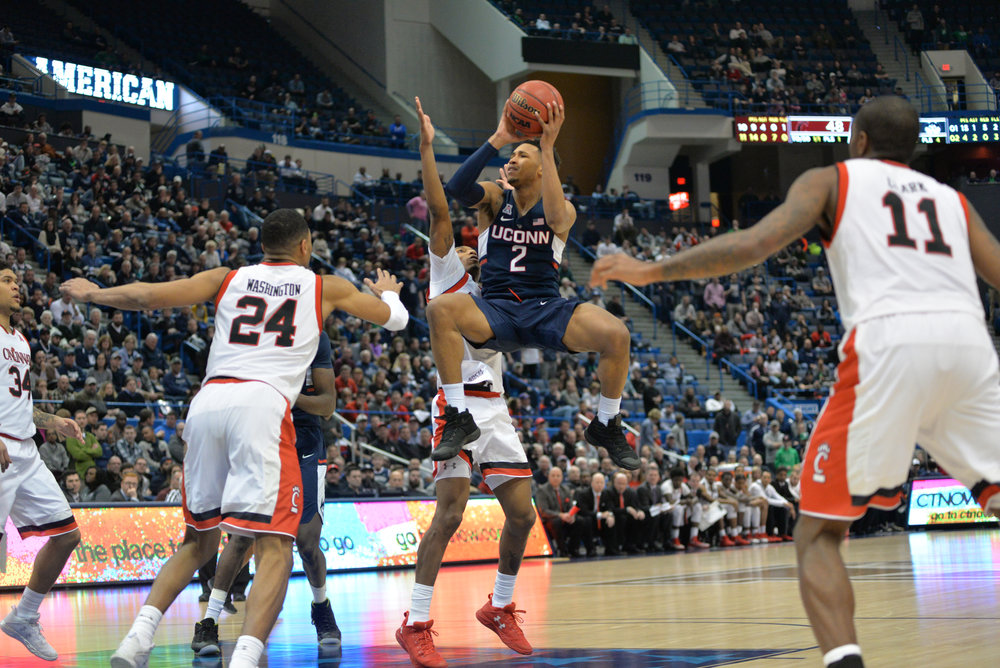 UConn's Jalen Adams attempts a shot in the Huskies' 81-71 loss to Cincinnati in the American Athletic Conference tournament semifinals on March 11, 2017. (Amar Batra/The Daily Campus)
