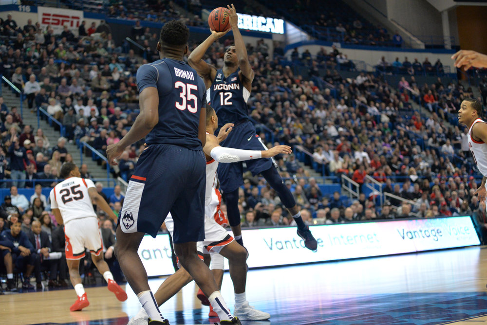 Huskies forward Kentan Facey attempts a shot in UConn's 81-71 loss to Cincinnati in the American Athletic Conference semifinals on March 11, 2017. (Amar Batra/The Daily Campus)