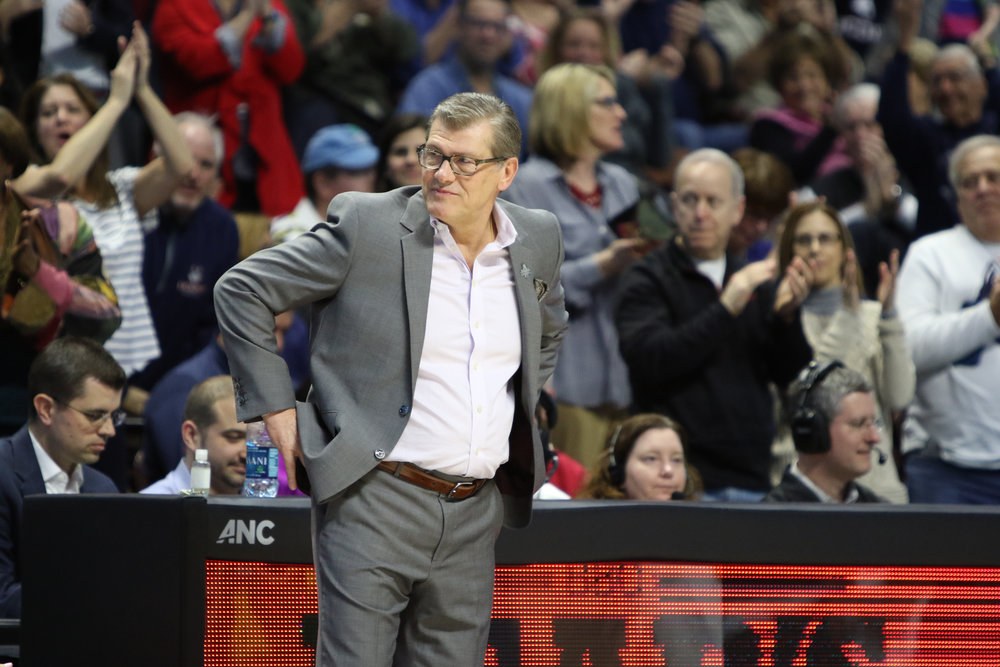UConn head coach Geno Auriemma looks on in the Huskies' 100-44 win over USF in the American Athletic Conference tournament championship on March 6, 2017. (Jackson Haigis/The Daily Campus)