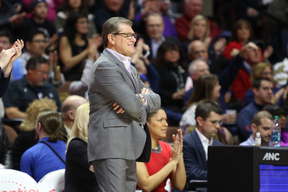 UConn head coach Geno Auriemma looks on in the Huskies' 100-44 win over USF in the American Athletic Conference tournament championship at Mohegan Sun Arena on March 6, 2017. (Jackson Haigis/The Daily Campus)