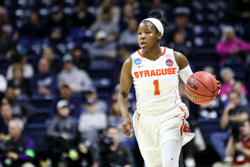 Syracuse guard Alexis Peterson brings the ball up during the Orange's 85-65 win over Iowa State Saturday afternoon at Gampel Pavilion in the first round of the NCAA tournament, The Orange will face UConn Monday night, with the winner advancing to the Sweet Sixteen. (Jackson Haigis/The Daily Campus)