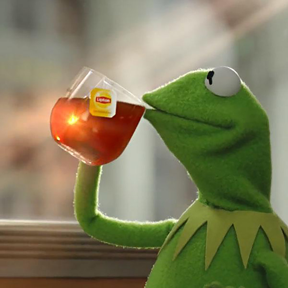 "2016 was legendary for memes like ""But that's none of my business"" showing Kermit the Frog drinking a glass of iced tea. (Wikimedia Commons)"