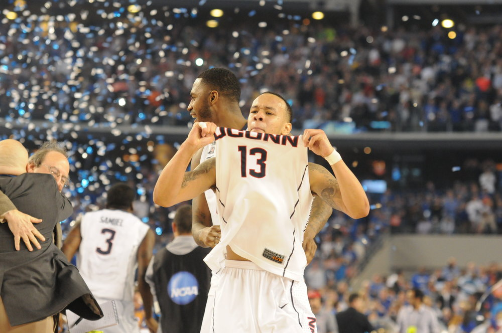 Shabazz Napier celebrates after winning the 2014 National Championship. (File photo)
