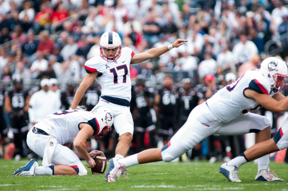 Redshirt Senior Bobby Puyol (17) kicks a field goal during the Huskies 20-9 victory over the Cincinnati Bearcats on Oct. 9, 2016 at Rentschler Field. Puyol will participate in Pro Scouting Day. (Jackson Haigis/The Daily Campus)