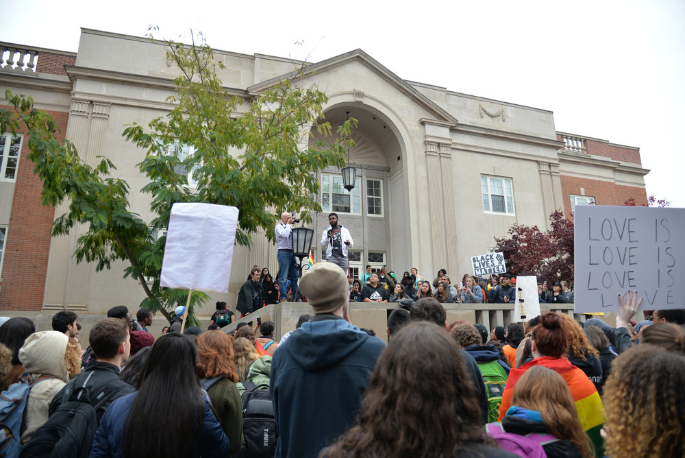 UConn students speak at the Rally for the People on Nov. 9, 2016 following the election of Donald Trump. The rally was organized as a safe-space for undocumented and minority students. (Amar Batra/The Daily Campus)