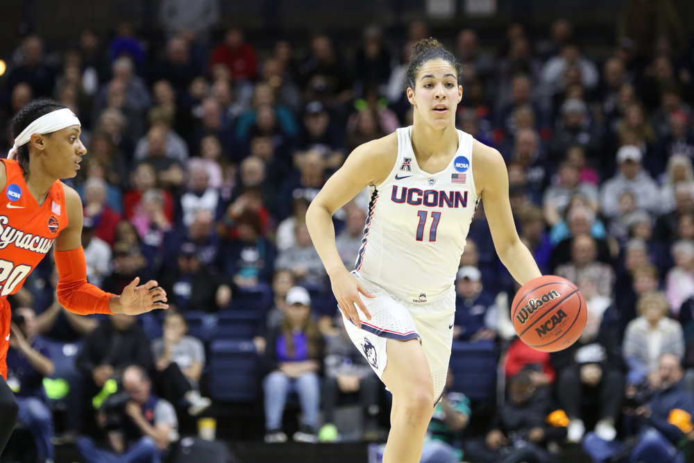 Kia Nurse (11) dribbles up campus during the Huskies 94-64 victory over the Syracuse Orange at Gampel Pavilion on Monday, March 20, 2016. (Jackson Haigis/The Daily Campus)