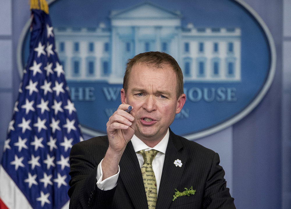 In this March 16, 2017 file photo,Budget Director Mick Mulvaney speaks at the White House in Washington. The White House is instructing Cabinet heads and agency officials not to elaborate on President Donald Trump's proposed budget cuts beyond what was in the relatively brief submission. (Andrew Harnik/AP)