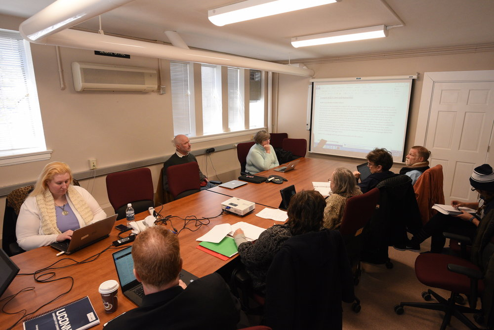 The university Senate Curricula and Courses Committee met at Hall Dorm to discuss addition, deletion and changes in courses on Wed., March 22nd. They are working toward redoing the GenEd requirements for students. (Zhelun Lang/The Daily Campus)
