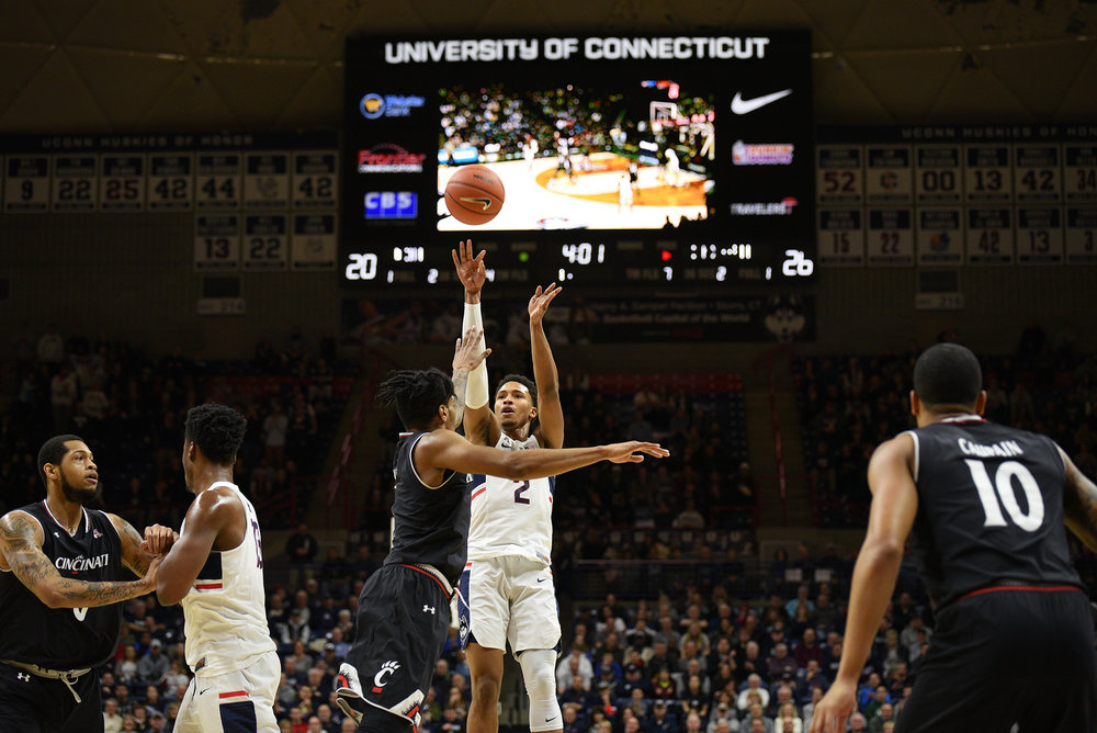 The UConn men's basketball team fell to the University of Cincinnati on Sunday, March 5, 2017 at Gampel Pavilion by a score of 67-46. (Zhelun Lang/ The Daily Campus)