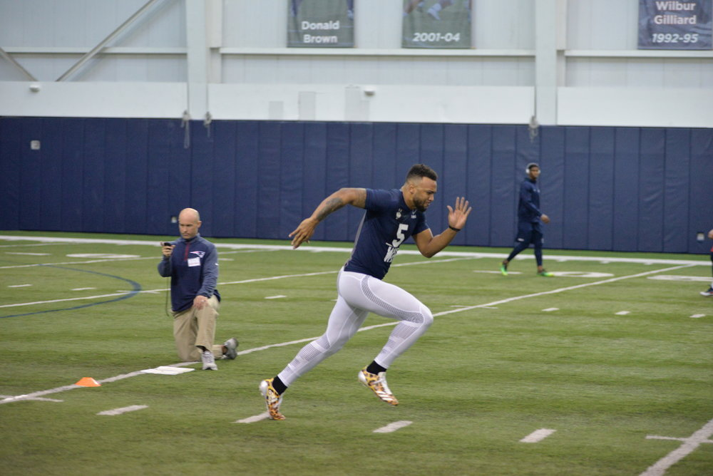 Wide receiver Noel Thomas participates in the 40-yard dash during the UConn Pro Scouting Day in the Shenkman Training Center on March 22, 2017. (Amar Batra/The Daily Campus)