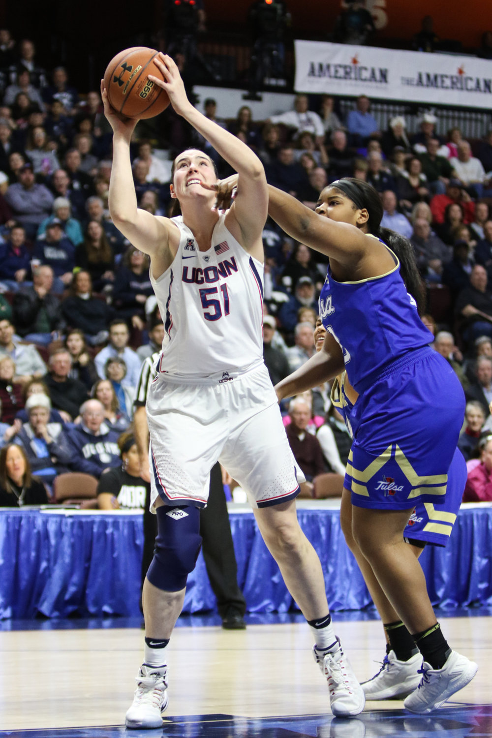 Natalie Butler attempts a lay-up during the Huskies 105-57 victory over the Tulsa Golden Hurricane on Saturday, March 4, 2017. (Jackson Haigis/The Daily Campus)