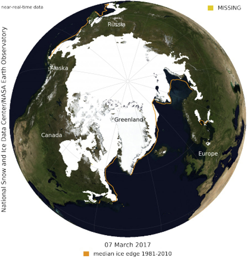 In this image provided by the National Snow and Ice Data Center and NASA, shows how low sea ice levels were in the Arctic this winter, alarming climate scientists. (National Snow and Ice Data Center and NASA/AP)