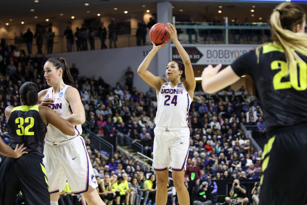 UConn's Napheesa Collier spots up for a jump shot in the second half. Collier led all scores with 28 points. (Jackson Haigis/The Daily Campus)