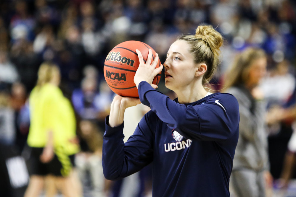 UConn sophomore Katie Lou Samuelson warms up before the start of the game. Samuelson was held to just 8 points on 4-for-13 shooting.