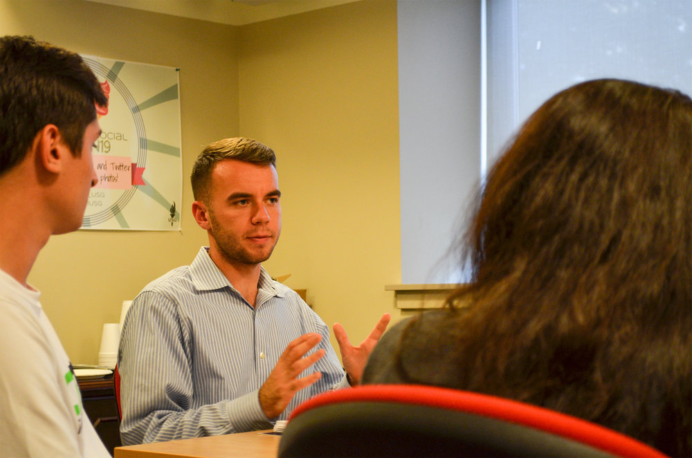 Senior political science major Adam Kuegler, who is an undergraduate student representative on the Board of Trustees, met today with other UConn students from the regional campuses. (Akshara Thejaswi/The Daily Campus)