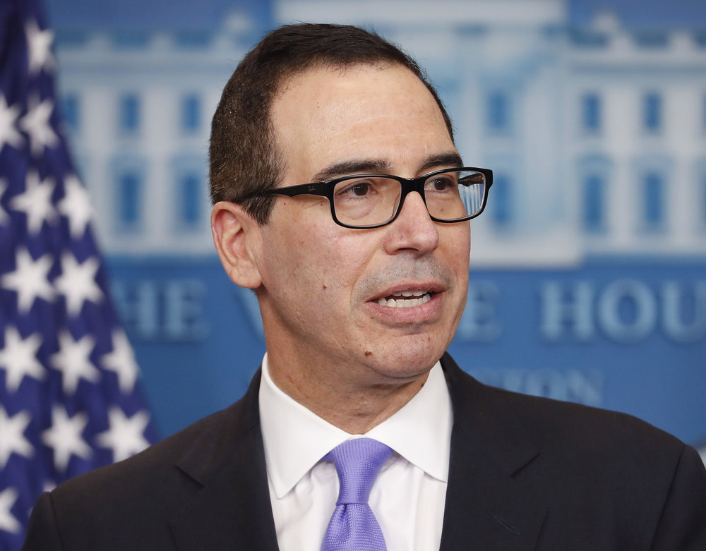 In this Feb. 14, 2017 file photo, Treasury Secretary Steven Mnuchin speaks to the media during the daily briefing in the Brady Press Briefing Room of the White House in Washington. (Pablo Martinez Monsivais/AP)