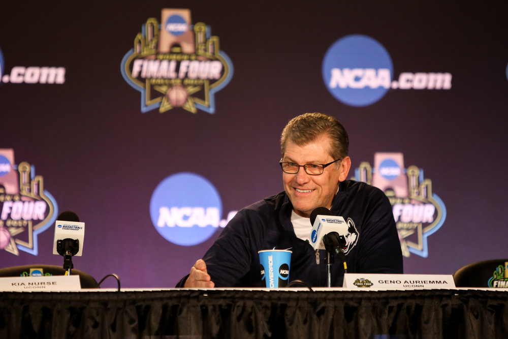UConn coach Geno Auriemma fields questions from the press Thursday afternoon ahead of the Huskies' Friday matchup with Mississippi State at the American Airlines Center in Dallas, Texas. (Jackson Haigis/The Daily Campus)