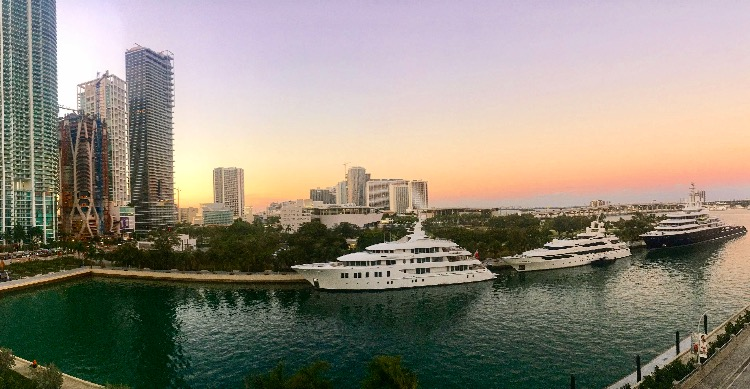 From the balcony of the American Airlines Arena, where the writer watched the Miami Heat play the New Orleans Pelicans, yachts are visible against the Miami skyline. (Francesca Colturi/The Daily Campus)