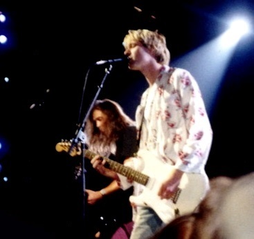 "Nirvana singer Kurt Cobain, seen here at a 1992 show, was called the ""voice of Generation X."" (Courtesy/Wikipedia)"