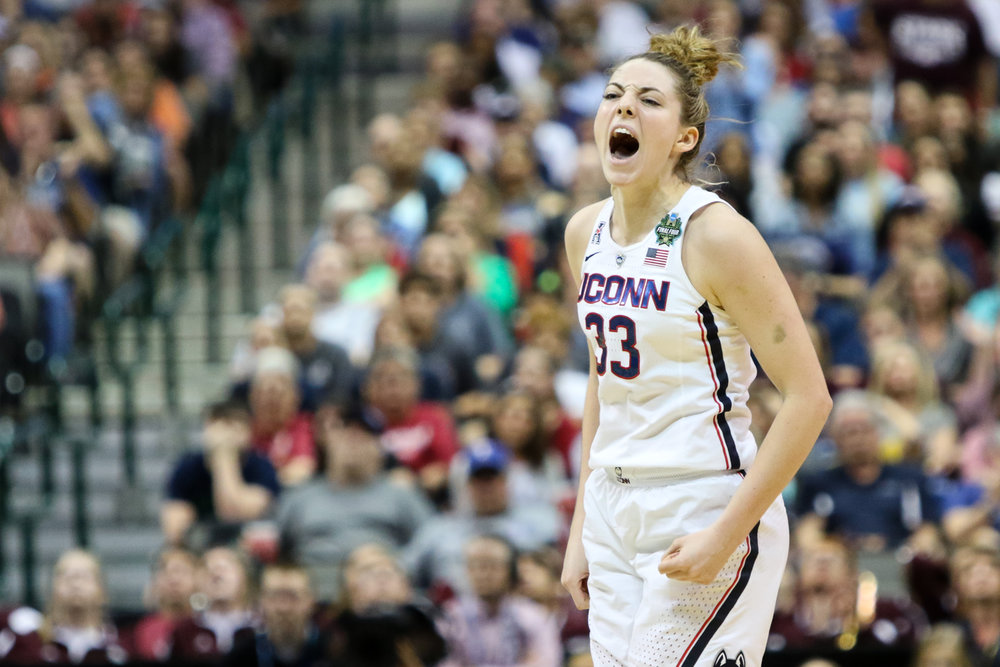UConn guard Katie Lou Samuelson celebrates after hitting a jumper with 1:35 left in overtime to tie the game 62-62.