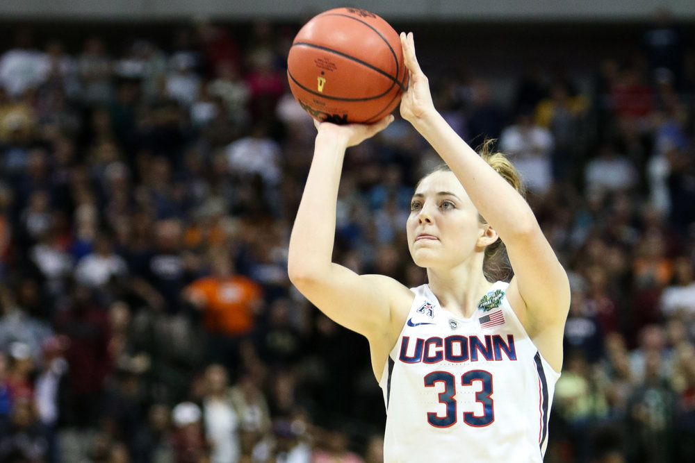 UConn guard Katie Lou Samuelson hits the second of two free throws with 26 seconds left to tie the game at 64. Samuelson scored 15 points on 5-for-10 shooting for the Huskies.