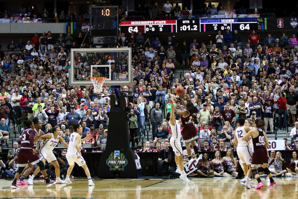 Mississippi State's Morgan William hits a game-winning shot as time expires in overtime to lift the Bulldogs to a 66-64 win over UConn on Friday night at the American Airlines Center in Dallas. The win ended the Huskies' record 111-game winning streak. (Jackson Haigis/The Daily Campus)