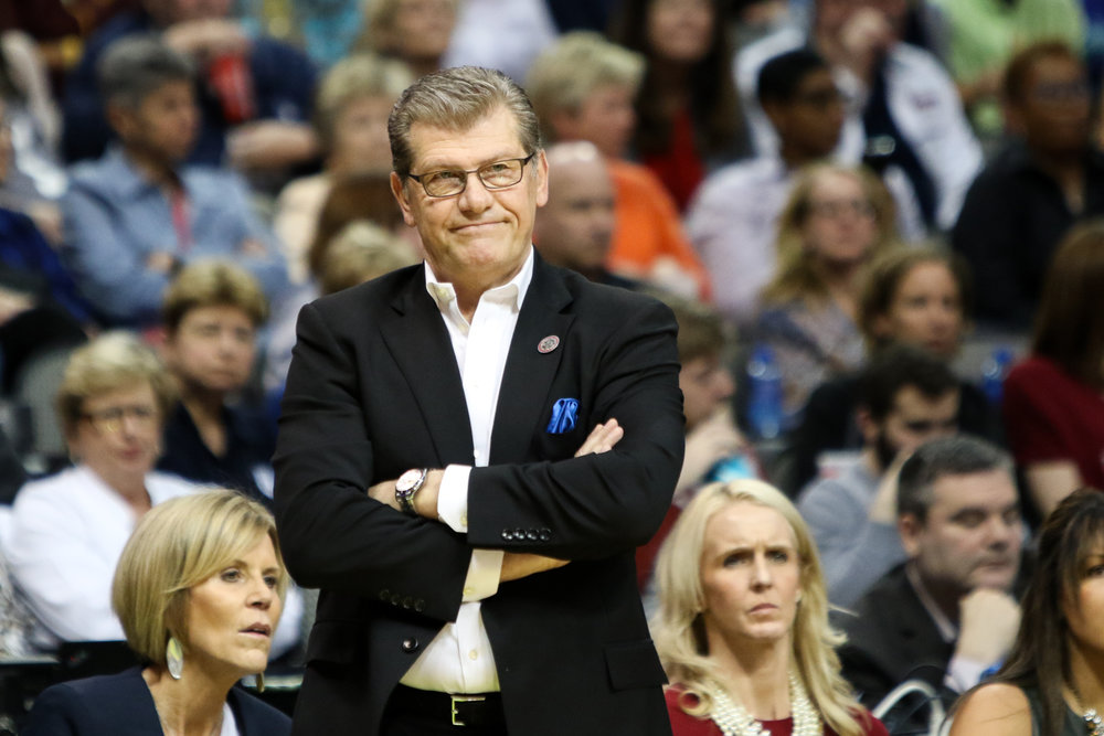 UConn head coach Geno Auriemma looks on during his team's 66-64 overtime loss to Mississippi State on Friday night at the American Airlines Center in Dallas. (Jackson Haigis/The Daily Campus)